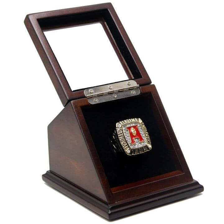 NCAA 1992 Alabama Crimson Tide Championship Replica Ring with Wooden box display Case Size 11