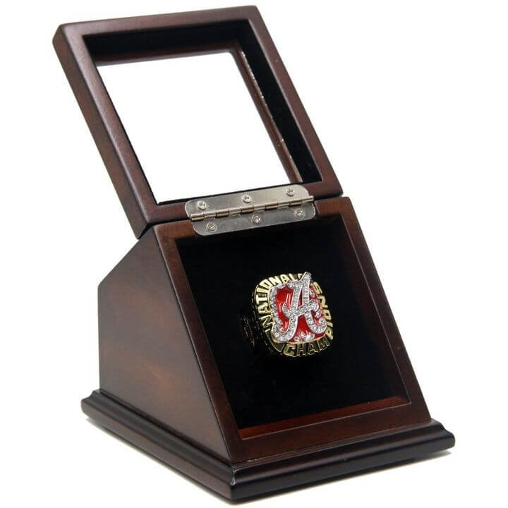 NCAA 2009 Alabama Crimson Tide Championship Replica Ring with Wooden box display Case Size 11
