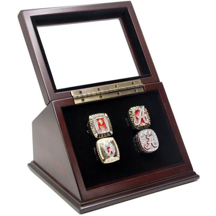 NCAA 1992 2009 2011 2012 Alabama Crimson Tide Championship Replica Fan Rings Set with display Case