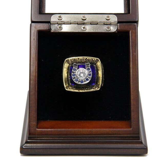 Baltimore Colts 1970 SB V Championship Replica Fan Rings with Wooden Display Case Size 11