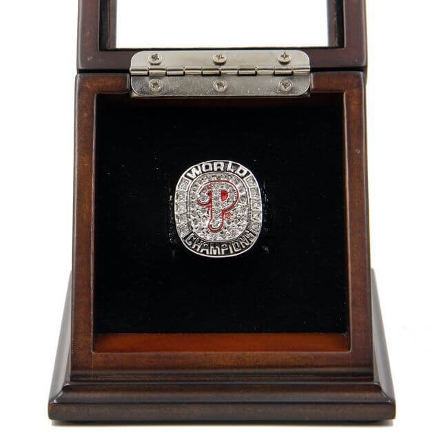 World Series 2008 Philadelphia Phillies Championship Wooden display Case Box Manuel Ring Size 11