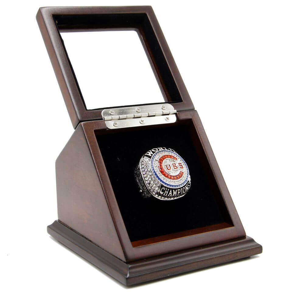 M.L.B 2016 Chicago Cubs Championship Ring w/ Slanted Wooden display Case