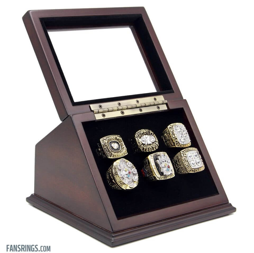 6 Slots Holes Slanted Glass Window Wooden Display Case for Championship Rings