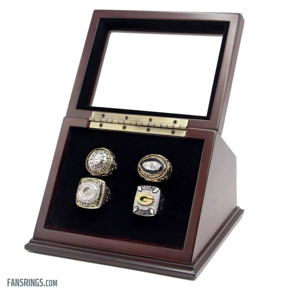 4 Slots Holes Slanted Glass Window Wooden Display Case for Championship Rings