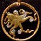 Cut Coin Jewelry Pendant - Necklace - Octopus (tako)