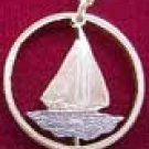 Bahama Islands Sailboat Pendant Necklace - Cut Coin Jewelry