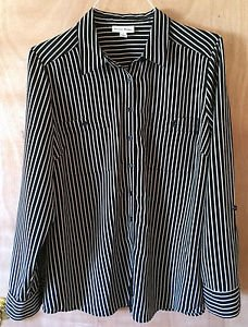 Women's Studio Works Size L Striped Button Down Black & White Dress Blouse Shirt