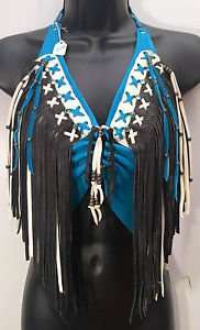 Womens Handmade Leather Halter Motorcycle Biker Bl,Wh,Blk-Fringe Jewels Sz S,M