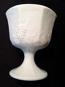 Milk Glass White Vintage Pedestal Bowl Candy Dish Grape Leaf Design