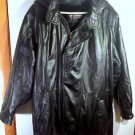 Vtg Mens WILSONS Black Heavy Leather Coat Jacket w/ Belt & Zip Out Liner, Hood
