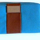 Dana Buchman Wallet,Cell Phone Clutch Aqua Blue,Brown,zebra lining EUC! Ret $40!