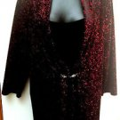 Notations Pls 3X Mock 2fer Surplice Top Dressy Sparkly Red Black Stretch Velour