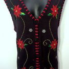 Womens Holiday Basic Editions Sz XL Black Christmas Sweater Vest Red Poinsettia
