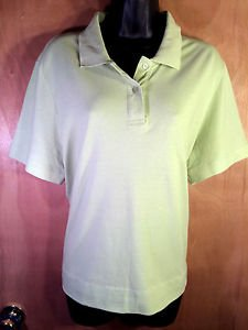 Ms Lee Light Green 100% Cotton Polo Shirt Sz L Large Collared 2 Button - EUC!