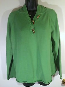 Womens Crazy Horse Sz XL Green Hoodie Pullover Knit Sweater w/3 Wood Buttons EUC
