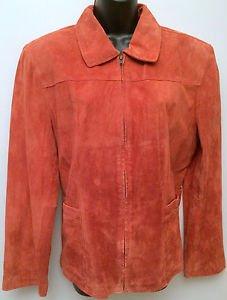 Womens Atelier By B. Thomas Dark Burnt Orange Suede Leather Jacket Size XL NWOT
