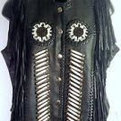 Womens SUNRIDERS Western Wear Sz S Black Leather Beaded Fringe Motorcycle Vest