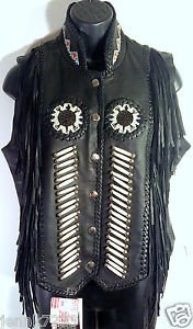 Womens SUNRIDERS Western Wear Sz S Black Leather Beaded Fringe Motorcycle Vest