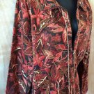 Women's CHRISTOPHER & BANKS Brown Orange Floral Leaf Lined Zip-Up Jacket Size L