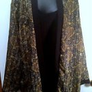 Womans Club Z Collection Size 3X Layered Blouse in Grn,Ylw,Gold Sheer Paisley