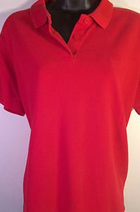 Liz Claiborne Liz Sport Red 100% Cotton Polo Shirt Sz L Collared 2 Button - EUC