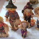 "Lot of 5 Indoor Tabletop Scarecrows fall thanksgiving halloween 10.5""-17"" tall"