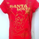 Disney Tinkerbell Red Christmas T-Shirt Size L W/ Metallic Gold 'Santa Loves Me'