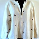 WOMENS C & B SPORT CROFT & BARROW ZIPPERED SWEATER SIZE MEDIUM- CREAM WITH HOLLY