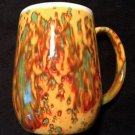 COLORFUL UNIQUE TIE DYE mug cup ceramic blending of yellow, orange, green & red