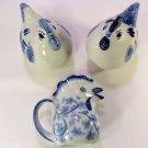 SET OF 3 Rooster Chicken Salt & Pepper Shakers w/Creamer - Blue & White Ceramic