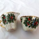 Ucagco Porcelain Cup & Saucer Gold Rim Christmas Holly Berry Opal Lustre Japan