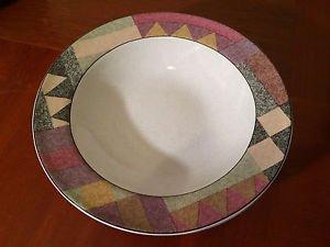"Set of 2 Studio Nova PALM DESERT 11"" Dinner Plates Y2216 Colorful Geometric EUC"
