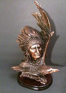 """Solid Bronze Native American Indian Chief and Eagle Soaring Statue 21"""" high"""