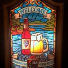 Vtg 1980 Old Style Lighted 'Welcome' Sign Stained Glass Look Heilmans Brewing Co