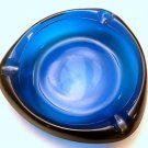 Vtg Viking Blue Glass Mid-Century Modernist 3 Sided Triangle Ashtray