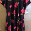 NWT! Womens Dawn Joy Fashions Sz 12 Black, Red Floral Double Skirt Dress Ret $60