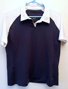 Womens Nike Golf Large 12-14 Fit Dry Polo Shirt Blue White Polyester Spandex EUC