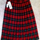 NWT Womens Vintage KORET Red Green Multi-Color Plaid Pleated Wool Skirt Size 12