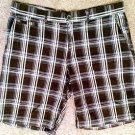 Mens J. Ferrar Sz 38 Brown Plaid Bermuda Shorts brown blue red white 100% cotton
