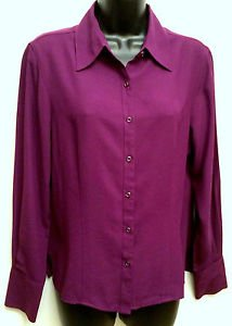 Women's Jaclyn Smith Size M Long Sleeve Button Up Dress Shirt Blouse Rich Purple