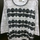 Womens Plus Size 3X ALFRED DUNNER Grey Shirt Black Lace Beads 3/4 Sleeves
