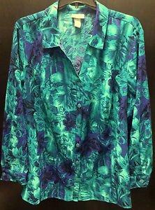 Maggie Barnes Blue Green Button Down LS Blouse Crinkle Floral Design Plus Sz 3X