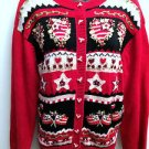 Womens Heirloom Collectibles Red Sweater Size L American Raised Multiple Designs