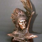 "Solid Bronze 21"" Native American Indian Chief Eagle Soaring Art Statue Wood Base"