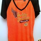 NWOT Womens Harley Davidson XL Shirt Orange Black Jeweled 03' Style 96358-13VW