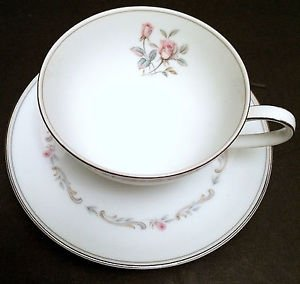 Noritake Mayfair 6109 White China Teacup & Saucer Set, 4 Avail - Mix & Match!