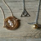 Set of 3 harry potter necklaces-time turner necklace,deathly hallow necklace,golden snitch necklace