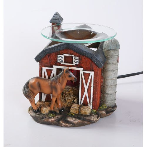 Red Barn Horse Burner Wax Tart Oil Candle Warmer Electric Polyresin