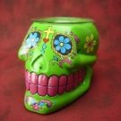 Green Sugar Skull Burner Wax Tart Oil Candle Warmer Electric Polyresin