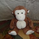 "TY 2002 10"" Pluffies Brown Dangles the Monkey TyLux Baby Lovey Plush Stuffed Beanie"